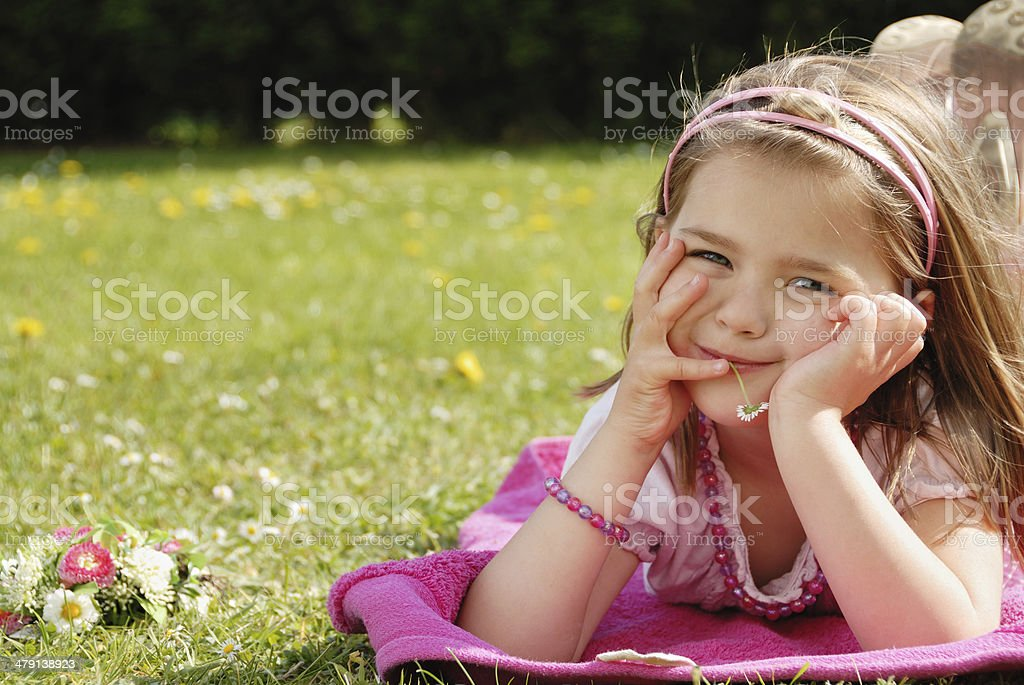 little girl in springtime royalty-free stock photo