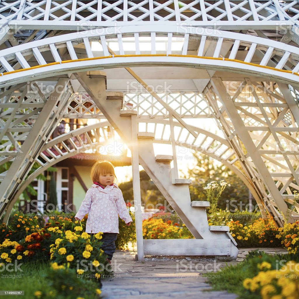 little girl in summer park royalty-free stock photo