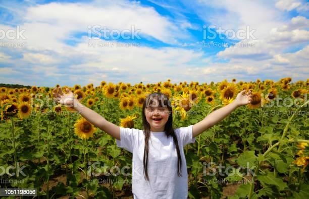 Photo of Little girl in sunflowers field