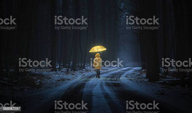 Photo of Little girl in the dark forest