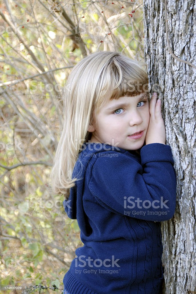 Little Girl in the Fall stock photo