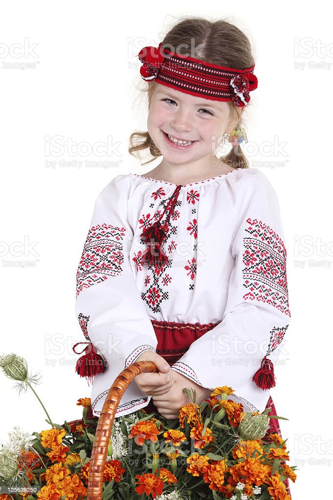 Little girl in the national Ukrainian costume royalty-free stock photo