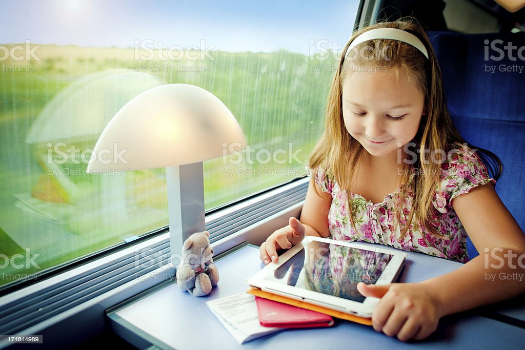 Little girl in train royalty-free stock photo