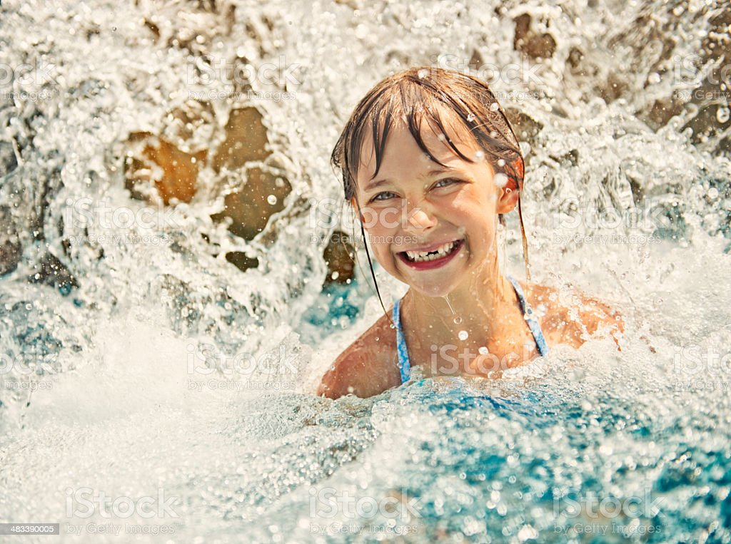 Little girl in water park royalty-free stock photo