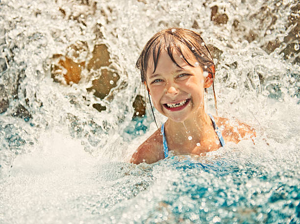 Little girl in water park stock photo
