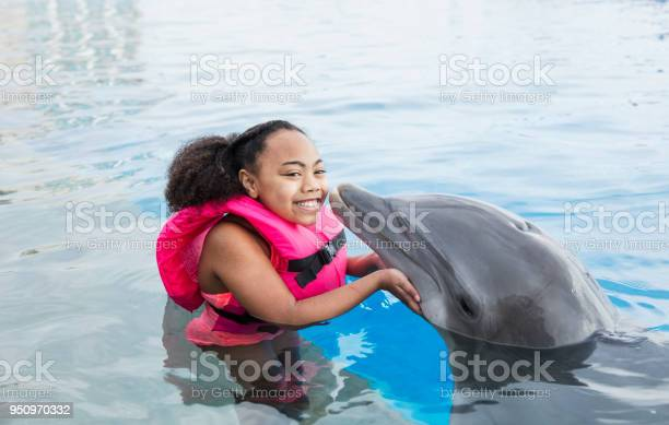 Little girl in water with dolphin getting a kiss picture id950970332?b=1&k=6&m=950970332&s=612x612&h=xewnxnaxwx36bttvkhvjdyrsli4ghhy4cmcre0bzgv4=