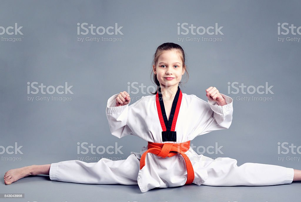 Little girl in white kimono stock photo
