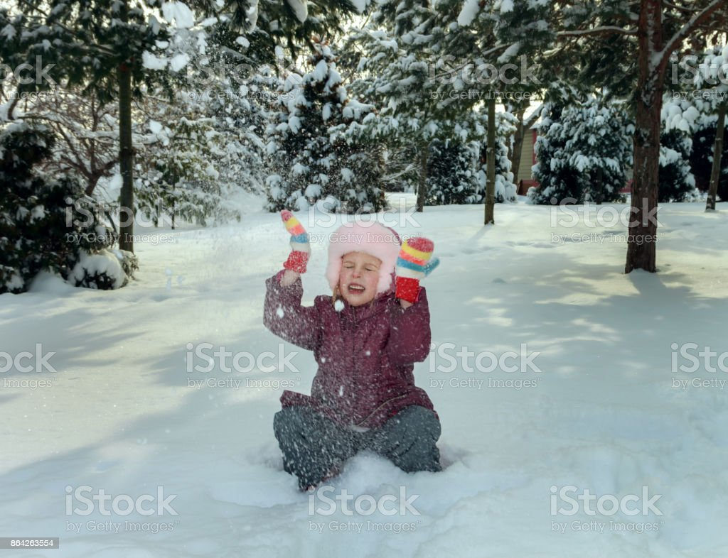 Little girl in winter time royalty-free stock photo