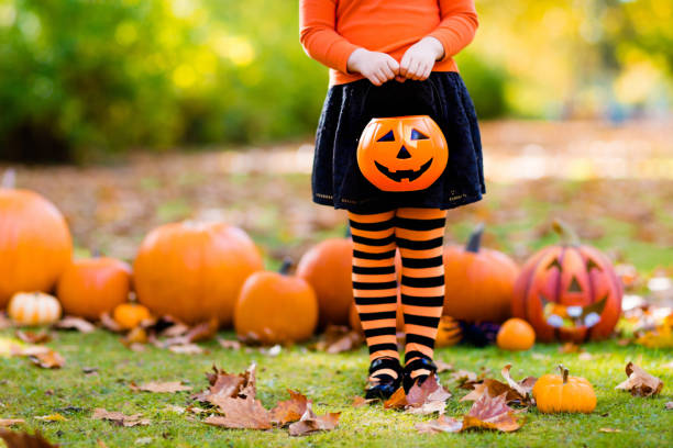 Little girl in witch costume on Halloween trick or treat Kids with pumpkin on Halloween. Little girl in witch costume and hat playing in autumn park. Child at Halloween trick or treat. Kid trick or treating. Toddler with lantern. Children with candy bucket. costume stock pictures, royalty-free photos & images
