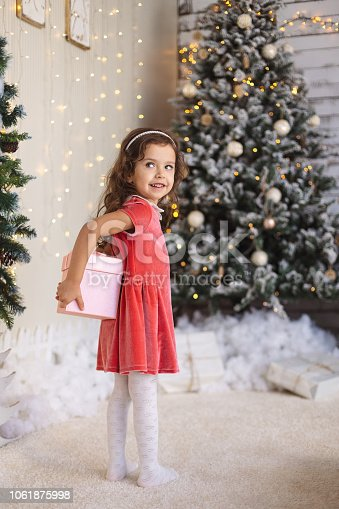 1061876006istockphoto Little girl is hiding a Christmas gift behind her back 1061875998