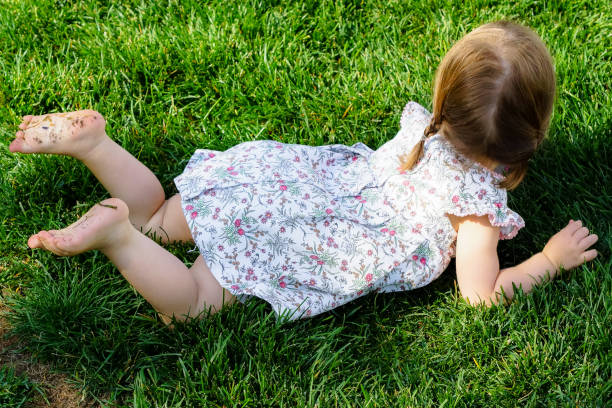 a little girl is lying in the grass - playpen stock pictures, royalty-free photos & images