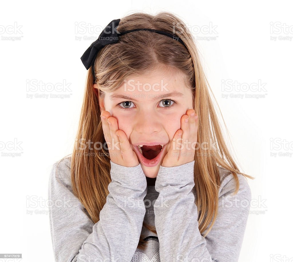 little girl is shocking royalty-free stock photo