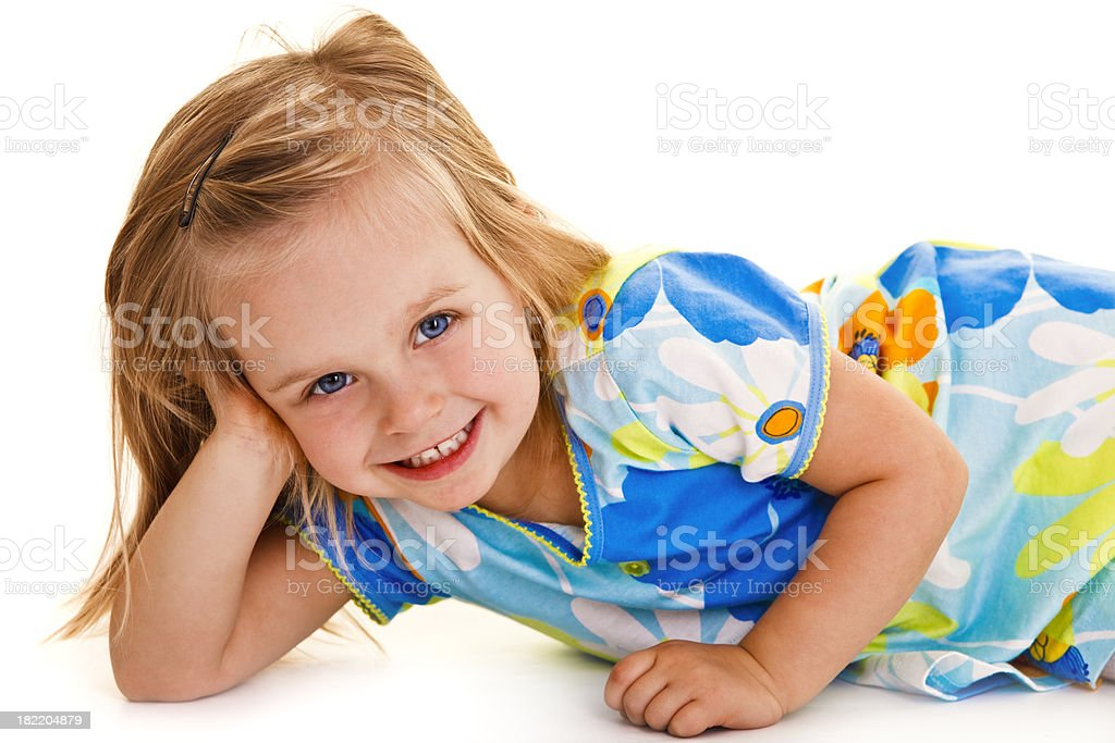 Little girl isolated on white royalty-free stock photo