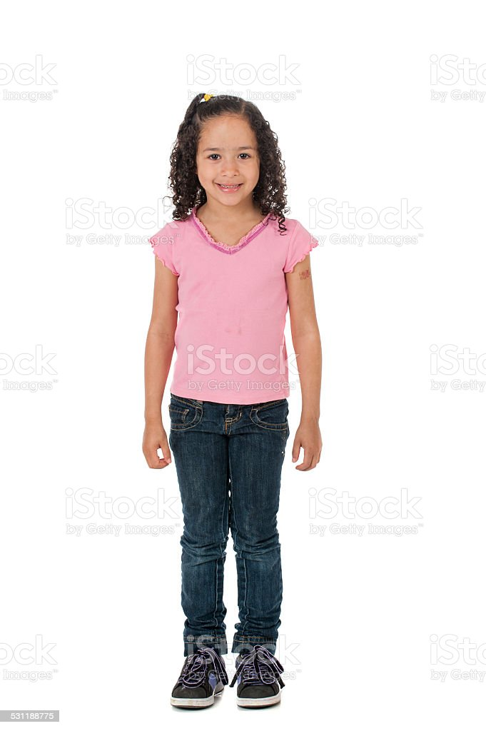 Little girl isolated on white stock photo