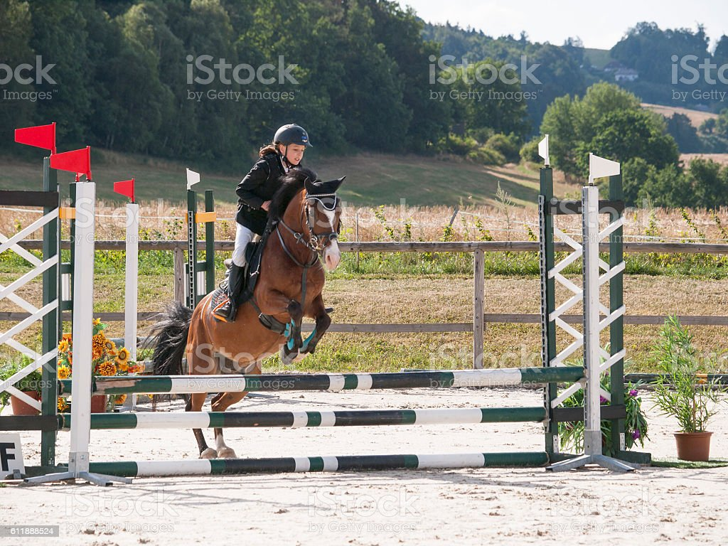 Little girl jumping over hurdle on pony stock photo