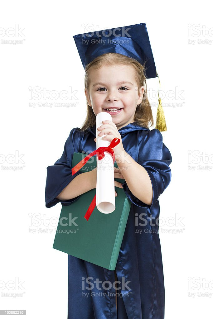 Little girl kid in academician clothes  with book royalty-free stock photo