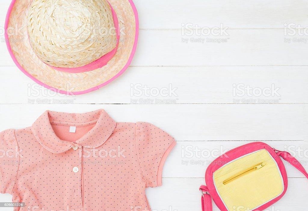 Little Girl Kid Pinky fashion flat lay stock photo