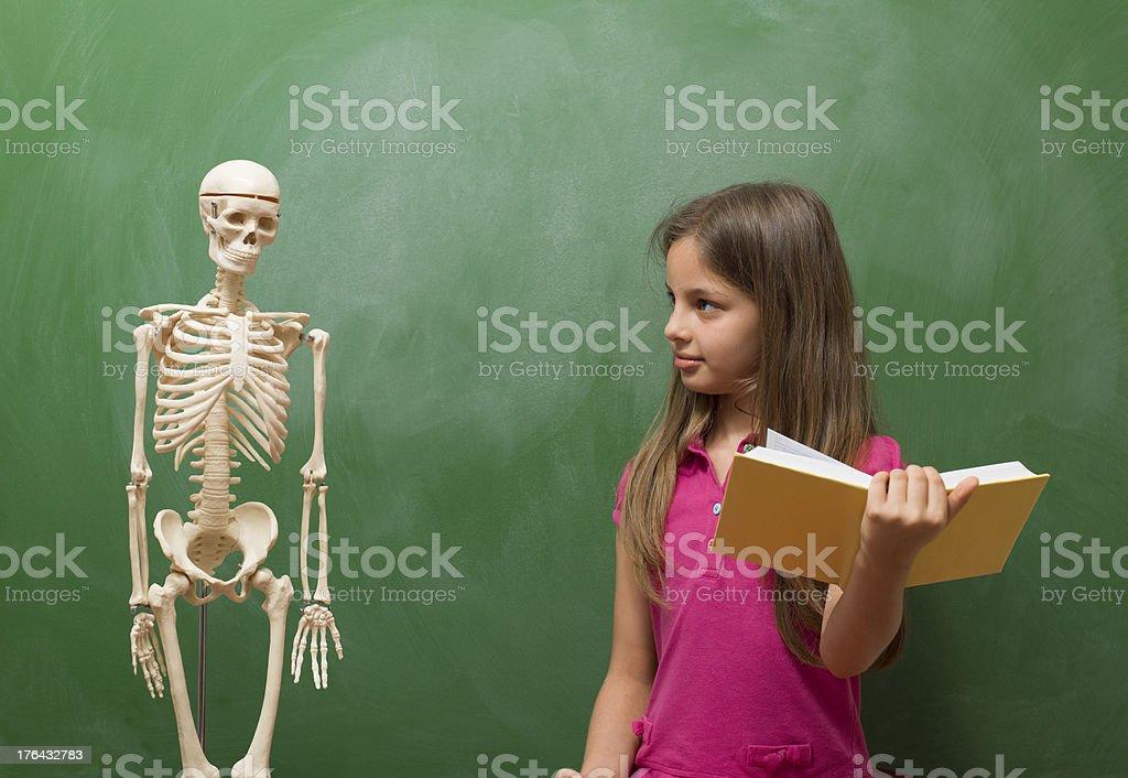 Fotografía de Little Girl Aprendizaje Anatomía Humana Delante De ...