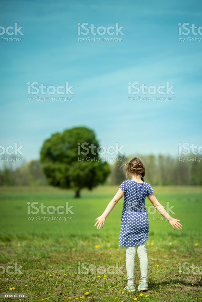 Little Girl looking at a tree stock photo