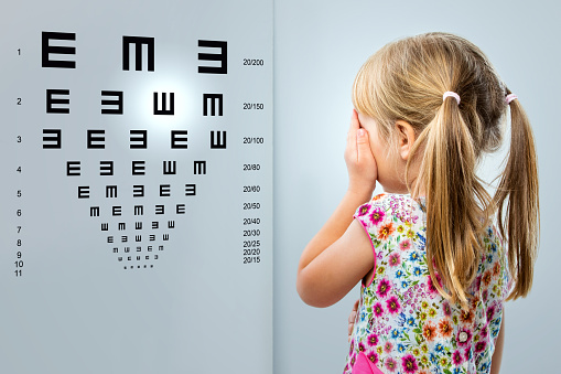 istock Little girl looking at vision test chart. 498768400