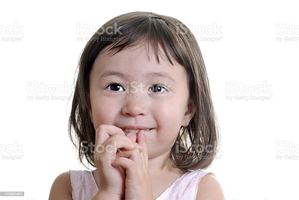 Little Girl Looking Forward in Anticipation royalty-free stock photo