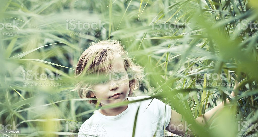 Little girl looking out through thatch leaves. stock photo