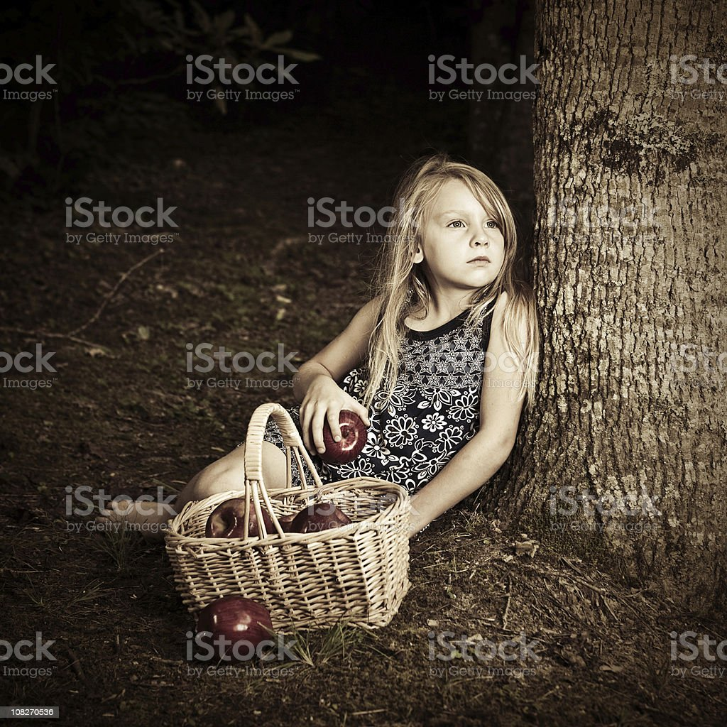 Little Girl Lost In The Forest Stock Photo & More Pictures ...