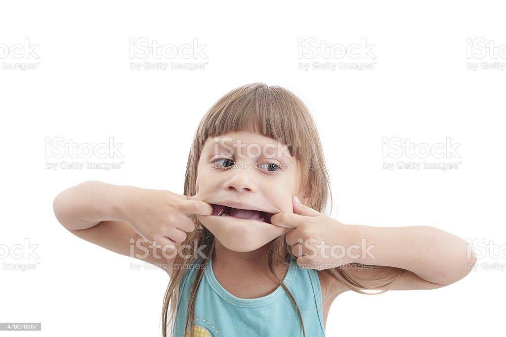 Little girl making a strange face royalty-free stock photo
