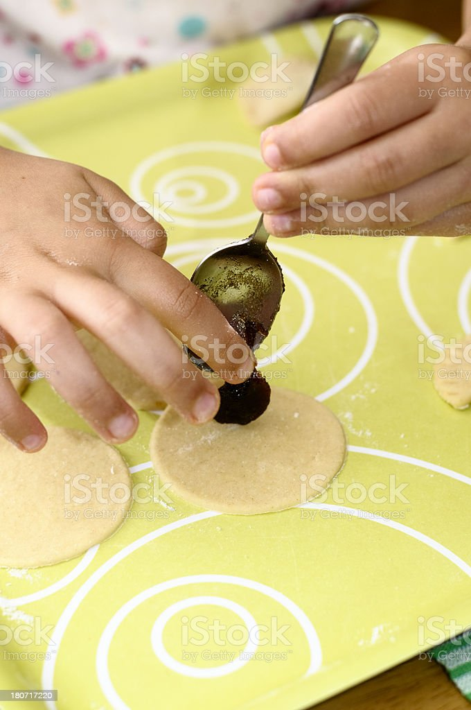 Little Girl (6-7) Making Cookies At Home royalty-free stock photo
