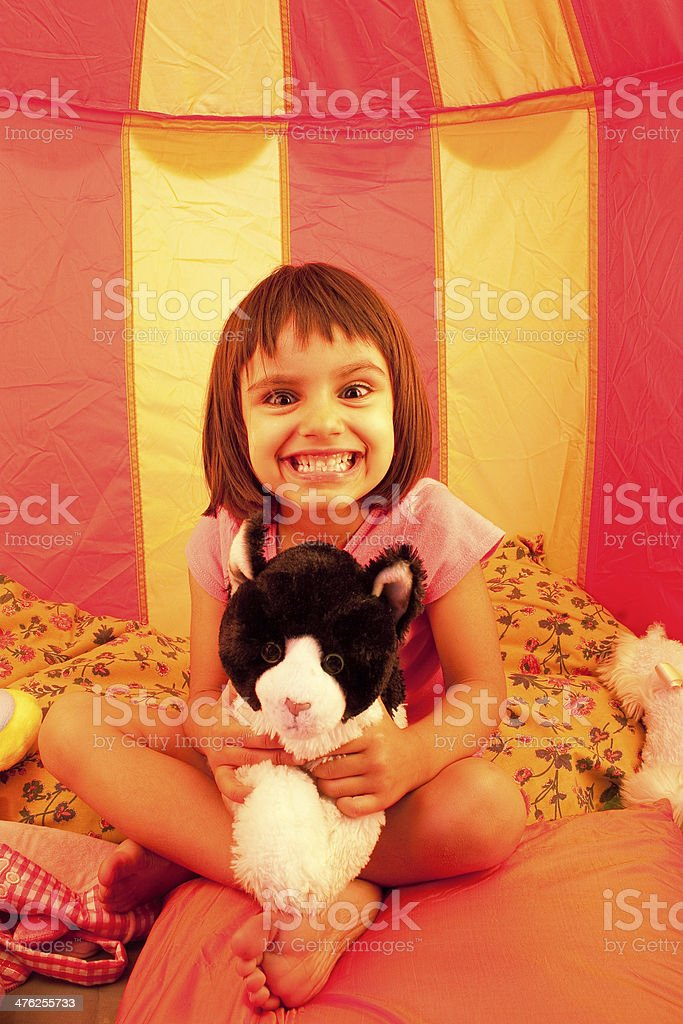 Little girl making funny face royalty-free stock photo