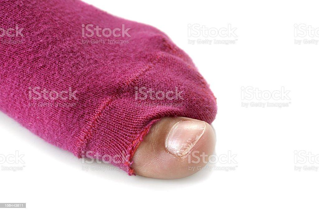 Little Girl Need New Socks stock photo