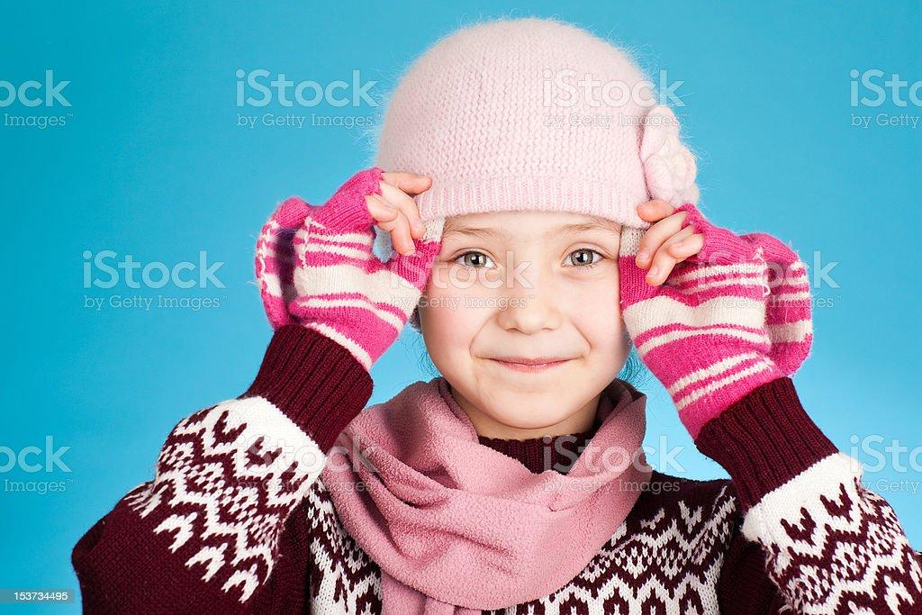 little girl on blue background stock photo