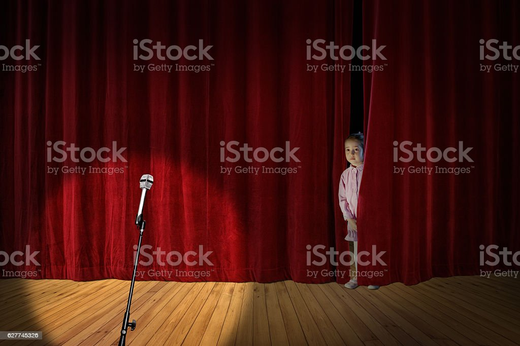 little girl on stage stock photo