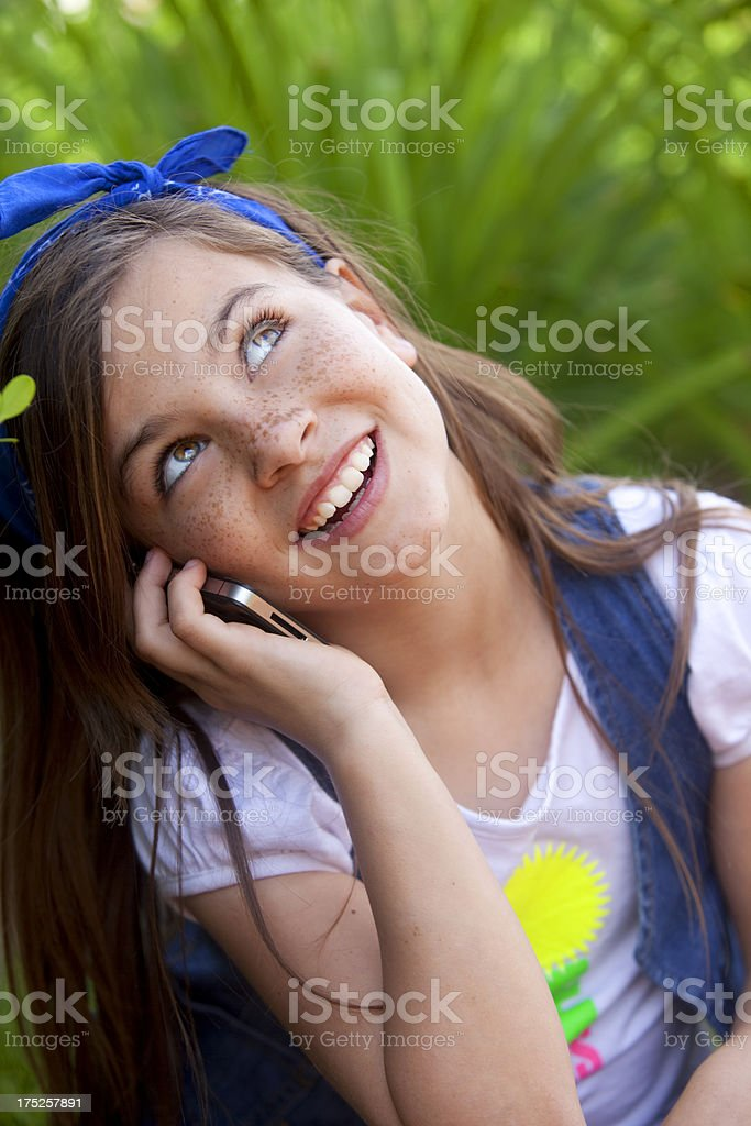 Little Girl on the Phone royalty-free stock photo