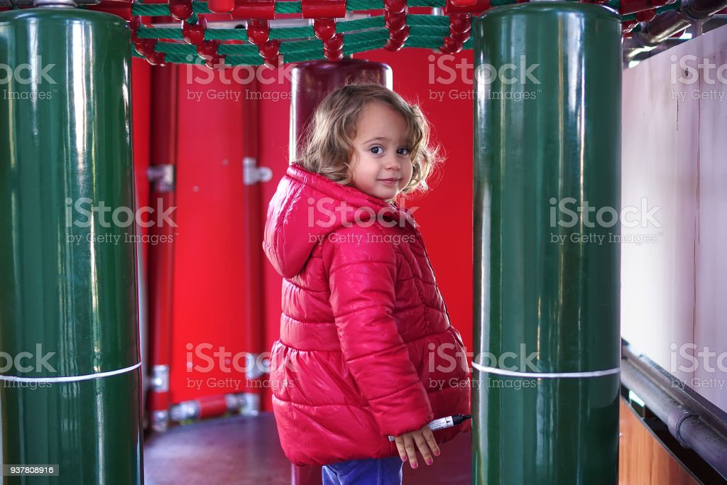 Little girl on the showground stock photo