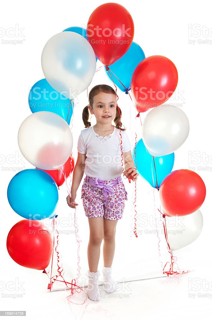 Little girl on the threshold of discoveries. stock photo