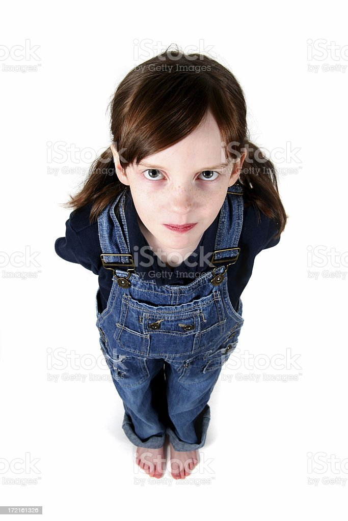 Little Girl on White Background stock photo