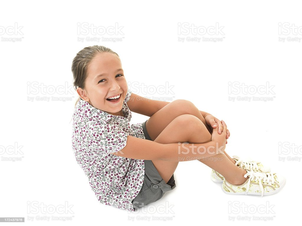Little girl on white royalty-free stock photo