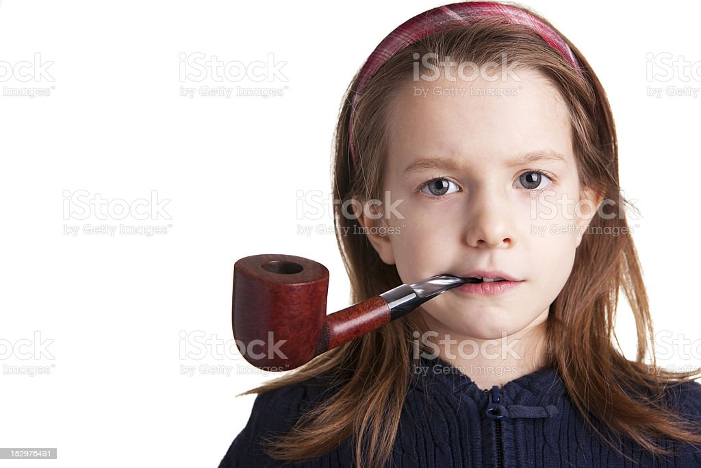 little girl on white with pipe stock photo more pictures of brown