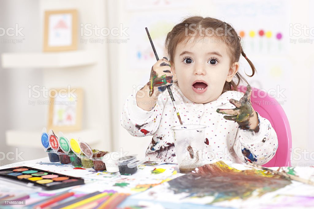Little girl painting. royalty-free stock photo