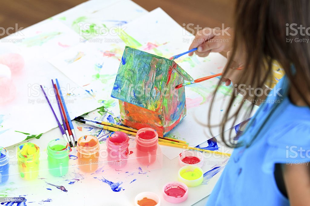 Little Girl Painting royalty-free stock photo