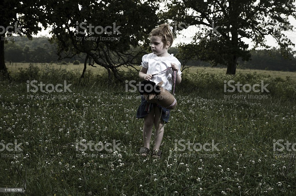 little girl pasture portraits royalty-free stock photo