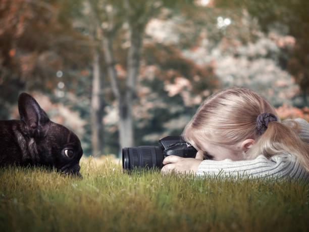 kleines mädchen fotografieren eines hundes - lustige babybilder stock-fotos und bilder