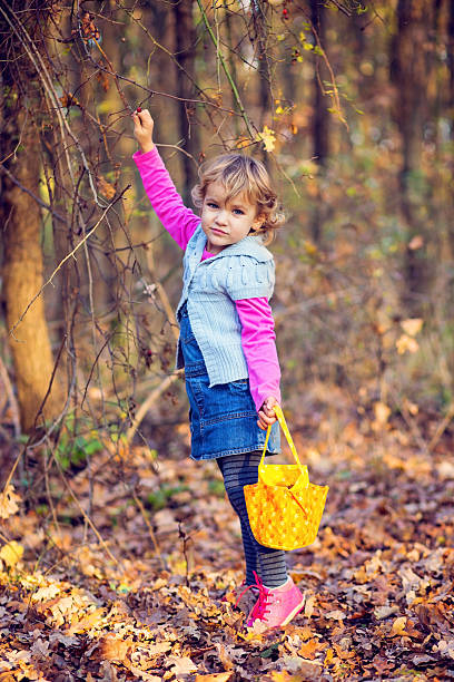 Little girl picking rosehip in the forest stock photo