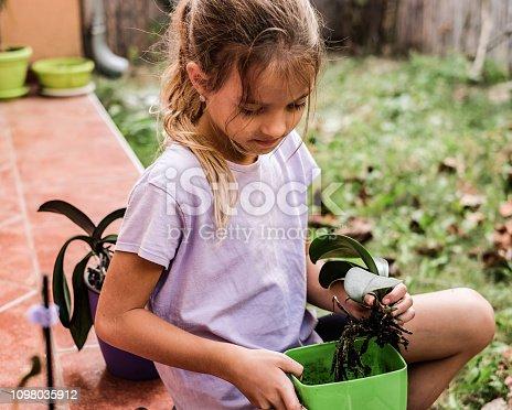 Cute little girl love to gardening flowers