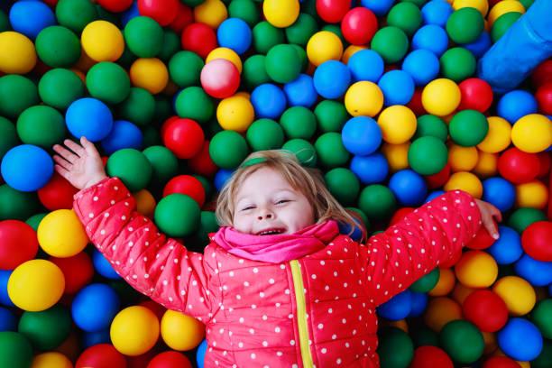 jeu de petite fille dans la piscine rempli de balles colorées - Photo