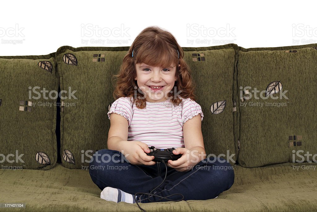 little girl play video game royalty-free stock photo