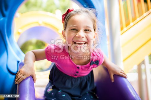istock Little Girl Playing At Playground Outdoors In Summer 699899338