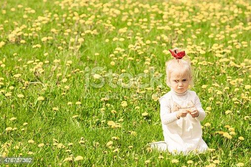 istock Little girl playing in the dandelion field. 476737362