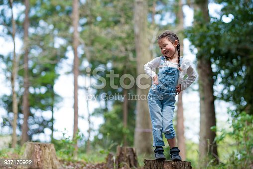 istock Little girl playing in the forest 937170922